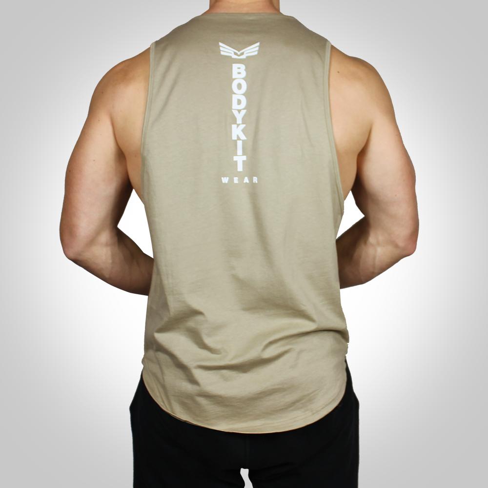 24856a0a82943f Men s Deep Cut Tank Top BKW Logo – Tan